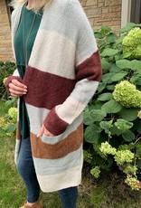 Burgundy Color Block Cardigan