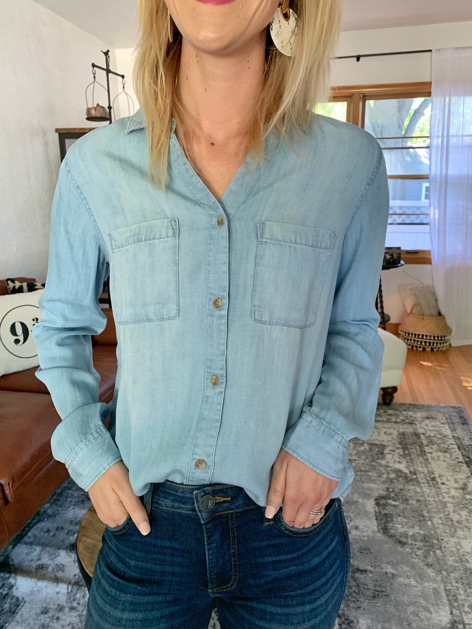 Thread & Supply Denim V-Neck Ginger Shirt