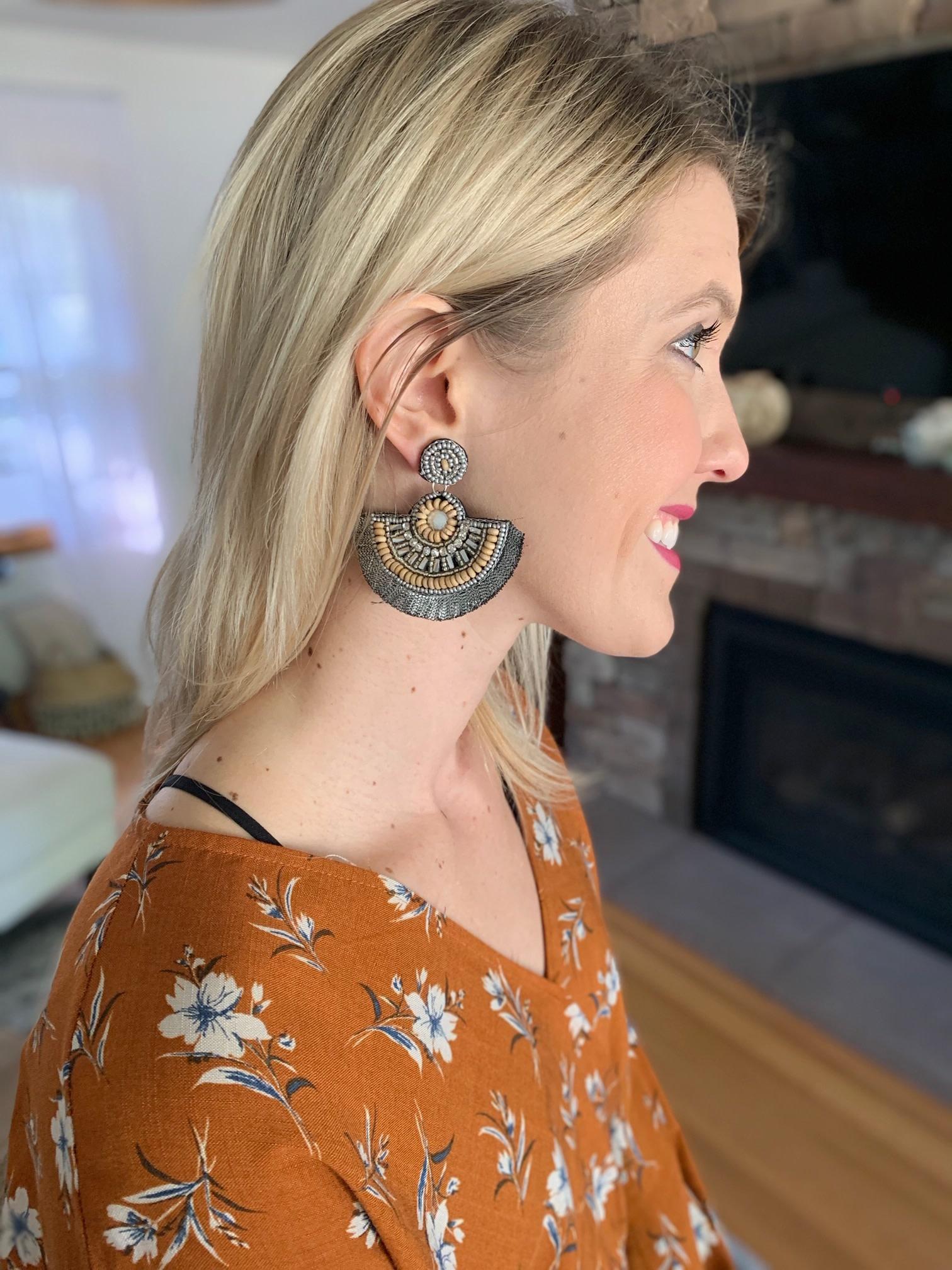 Black Beaded Fan Earrings