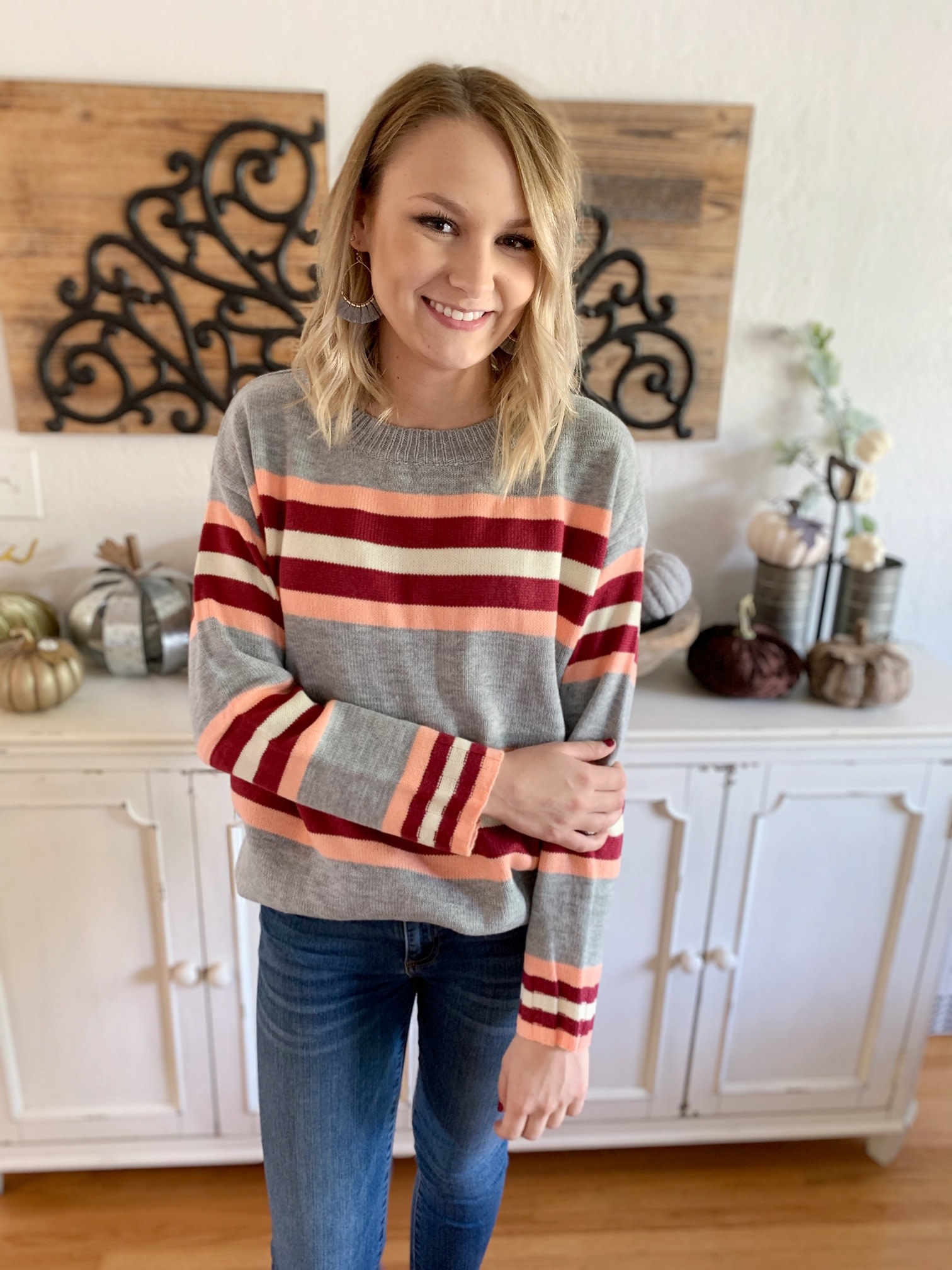 Peach/Wine Striped Sweater