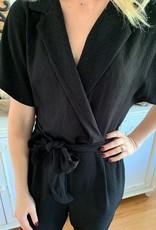 Lush Clothing Black Collared Jumpsuit