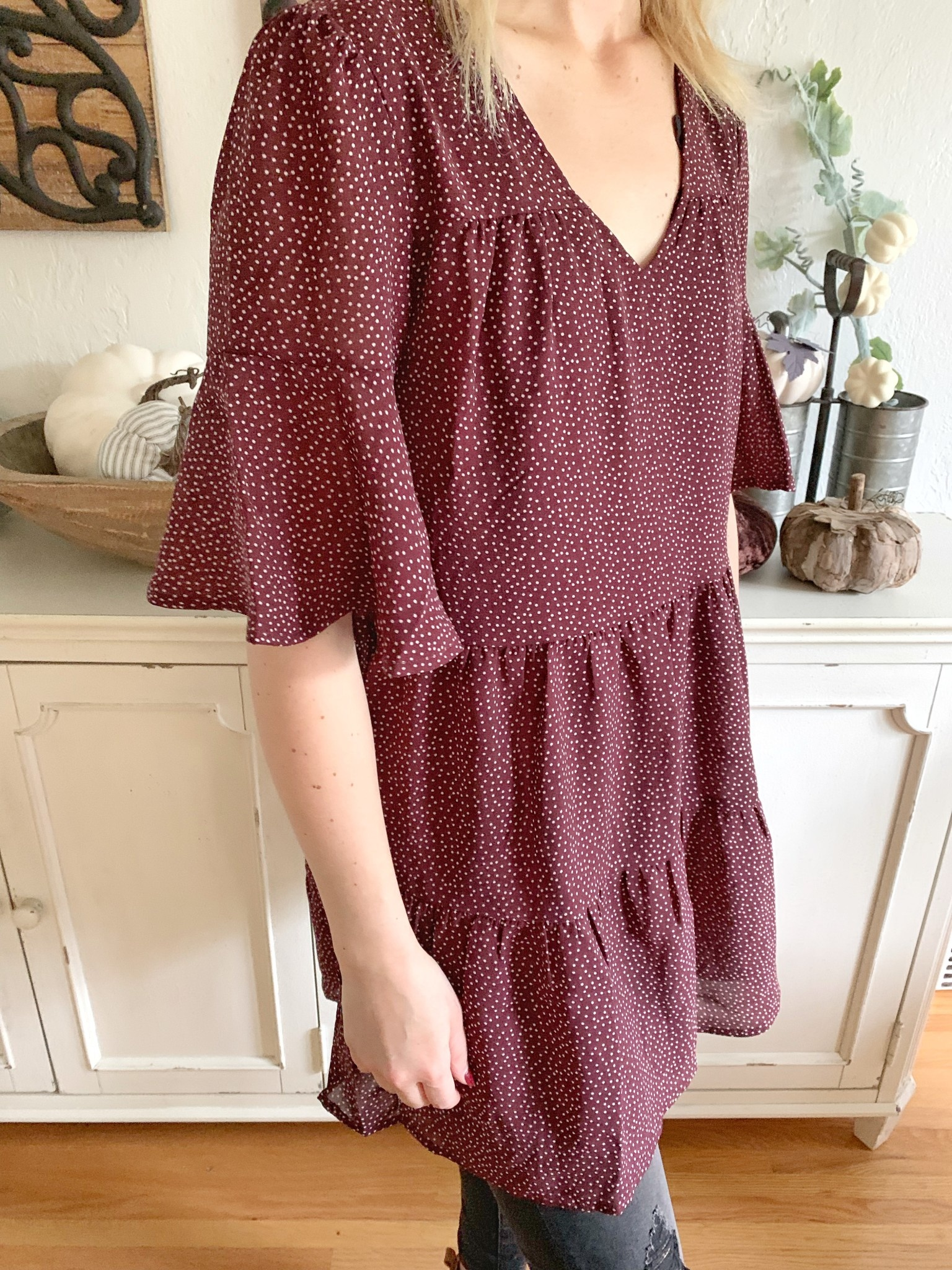 Wine Ruffled Dress