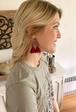 Crescent Maroon Tassel Earring