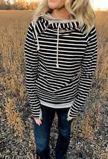 Ampersand Avenue Black Stripe Double Hoodie