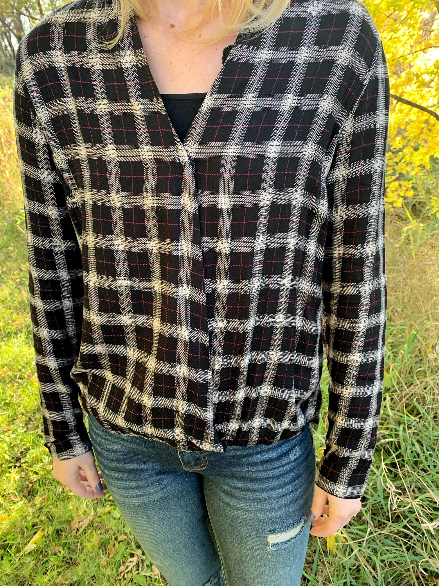 Wrap Plaid Top