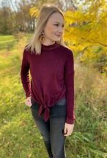Burgundy Mockneck Tie Sweater