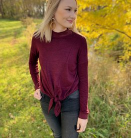 Burgundy Mockneck Tie Sweater