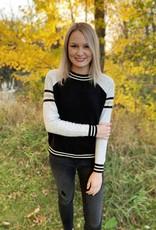 Black Varsity Stripe Sweater