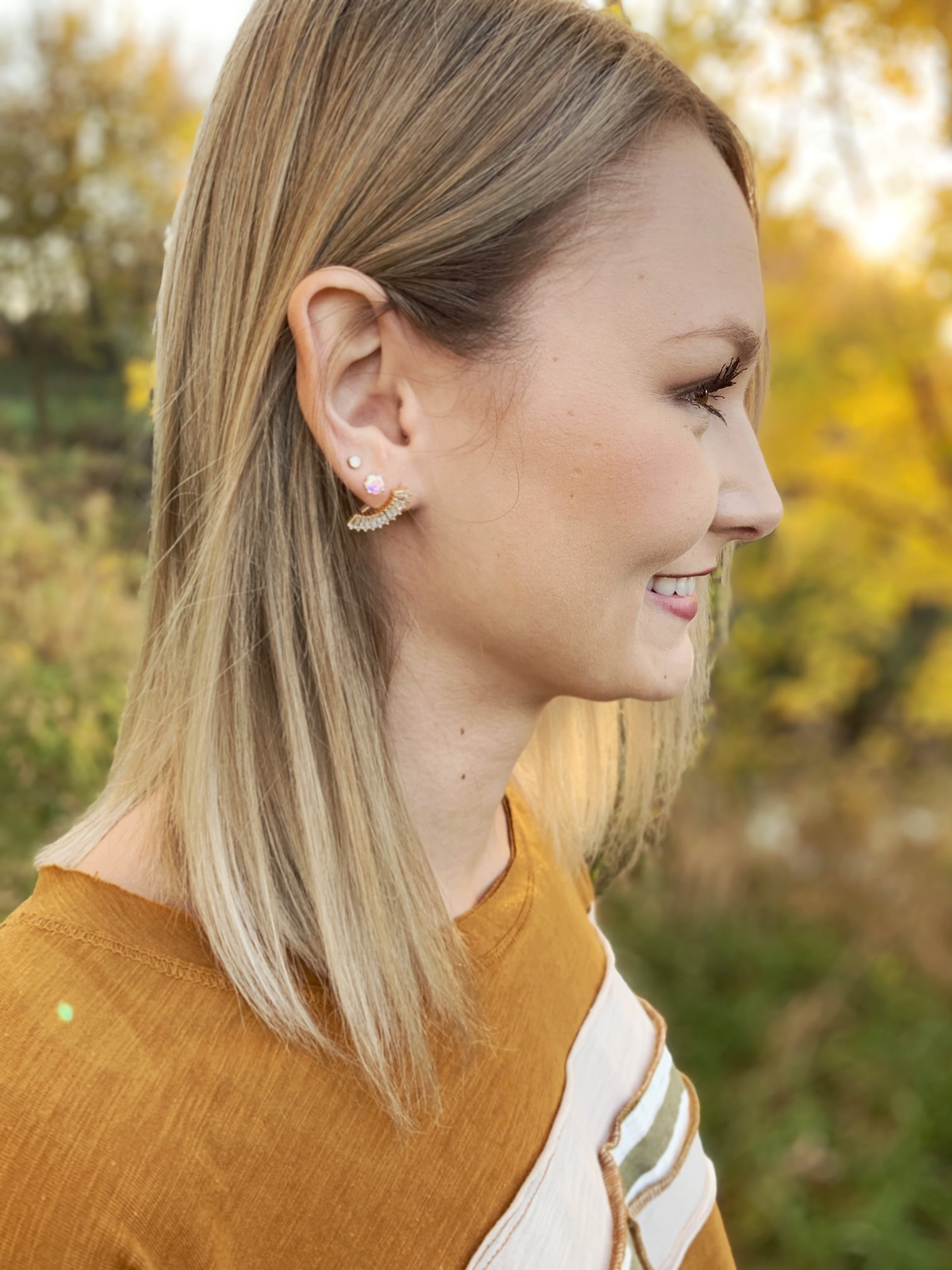 Rhinestone Crescent Earring