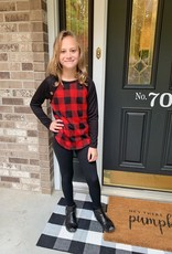 Girls Red Plaid Top