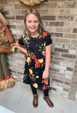 Pomelo Black Floral Girls Dress