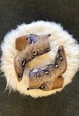 Brown Snakeskin Booties
