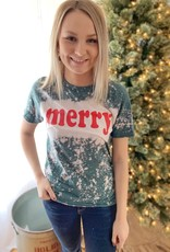 """Merry"" Bleached Graphic Tee"