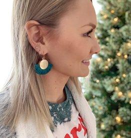Teal Tassel Fan Earrings
