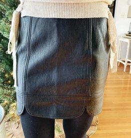 Scalloped Leather Skirt
