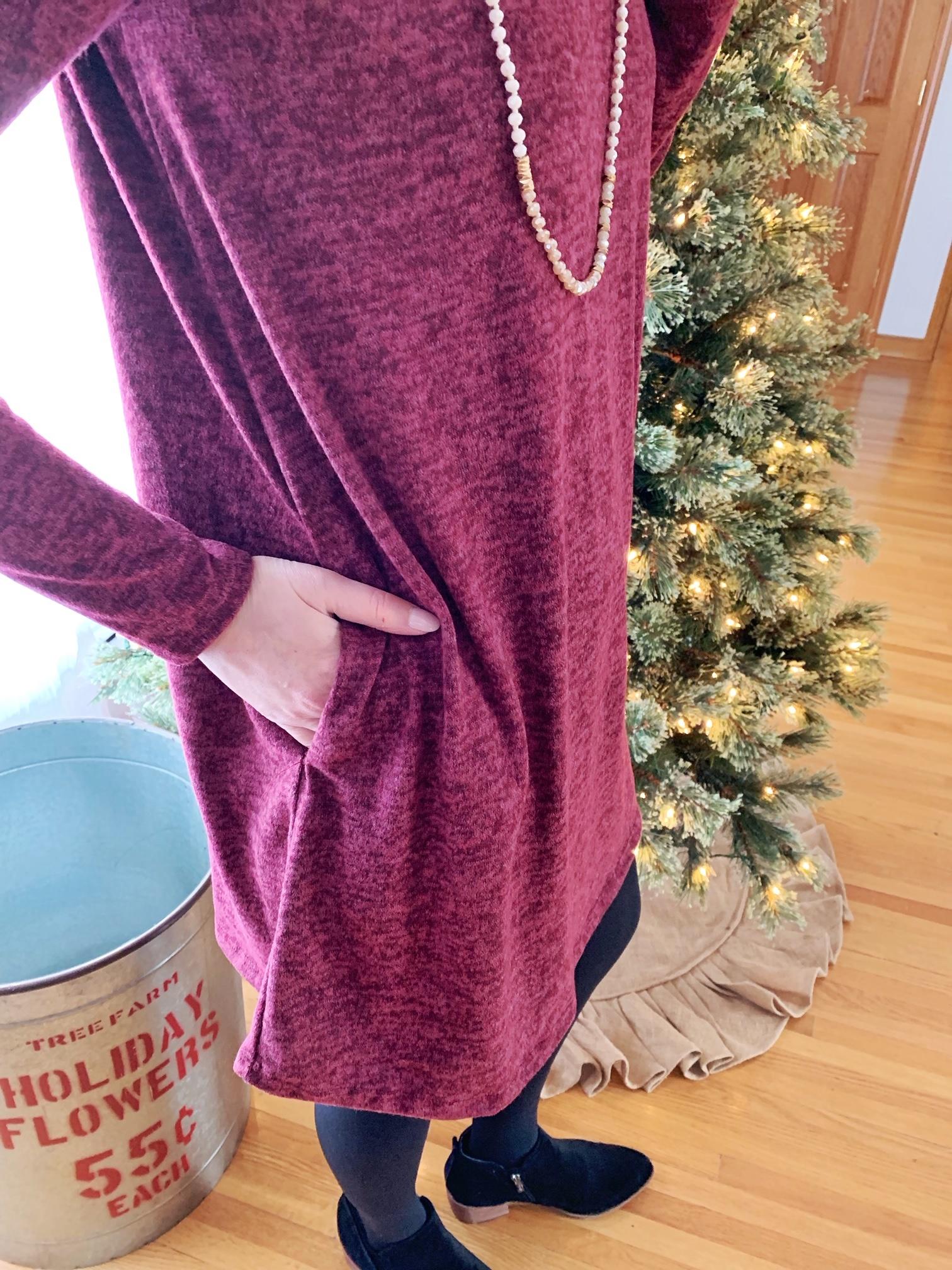 Wine Mockneck Dress