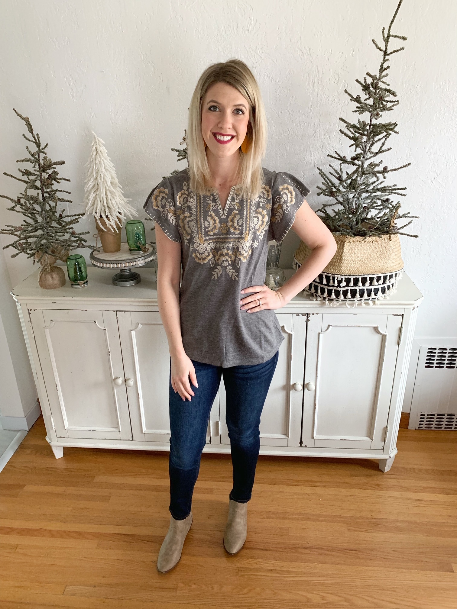 Gray/Gold Embroidered Knit Top
