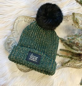 Green Speckled Gold Foil Pom Beanie
