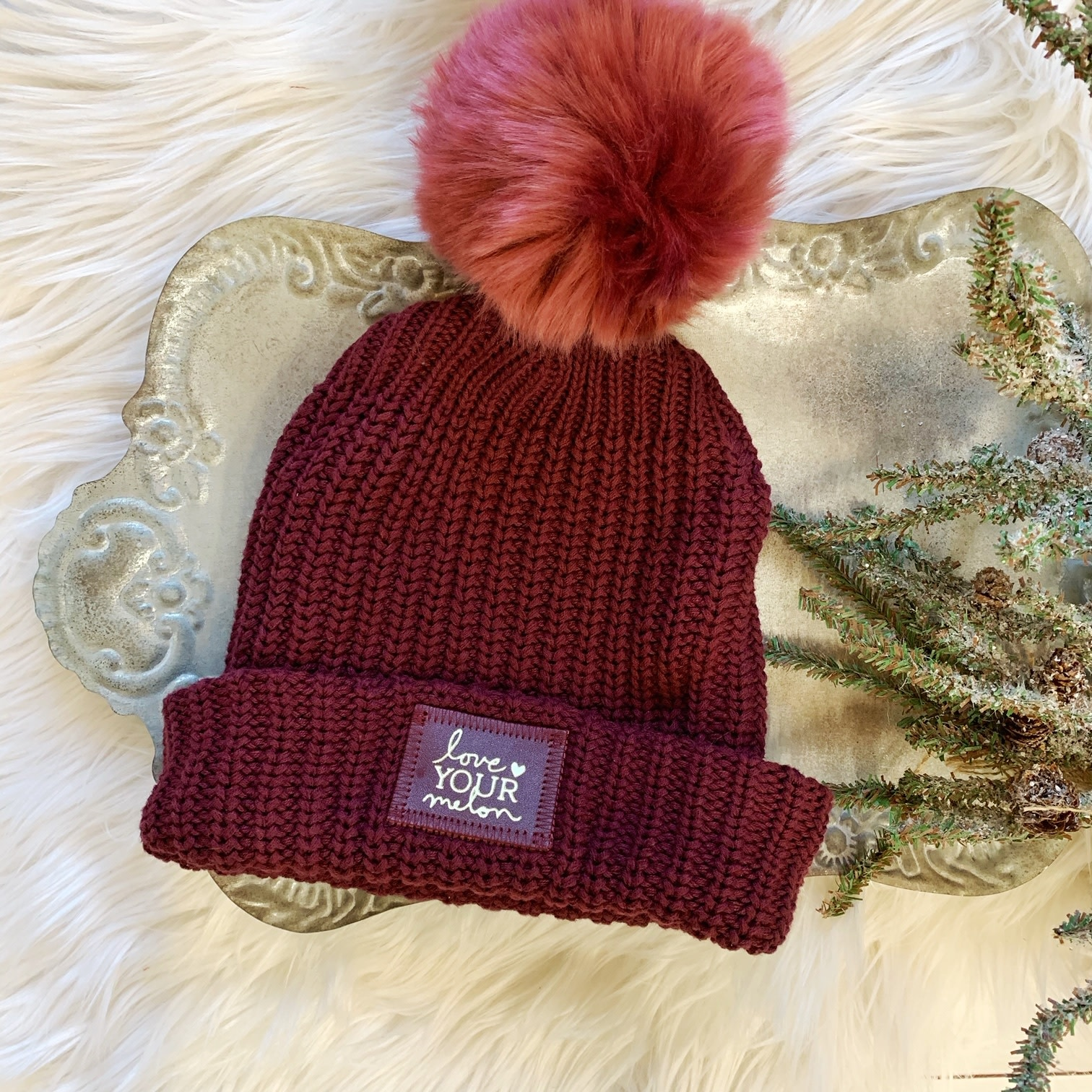 Burgundy Gold Foil Red Pom Beanie