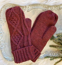 Maroon Cable Mittens