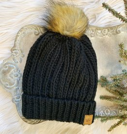 Black Cable Hat