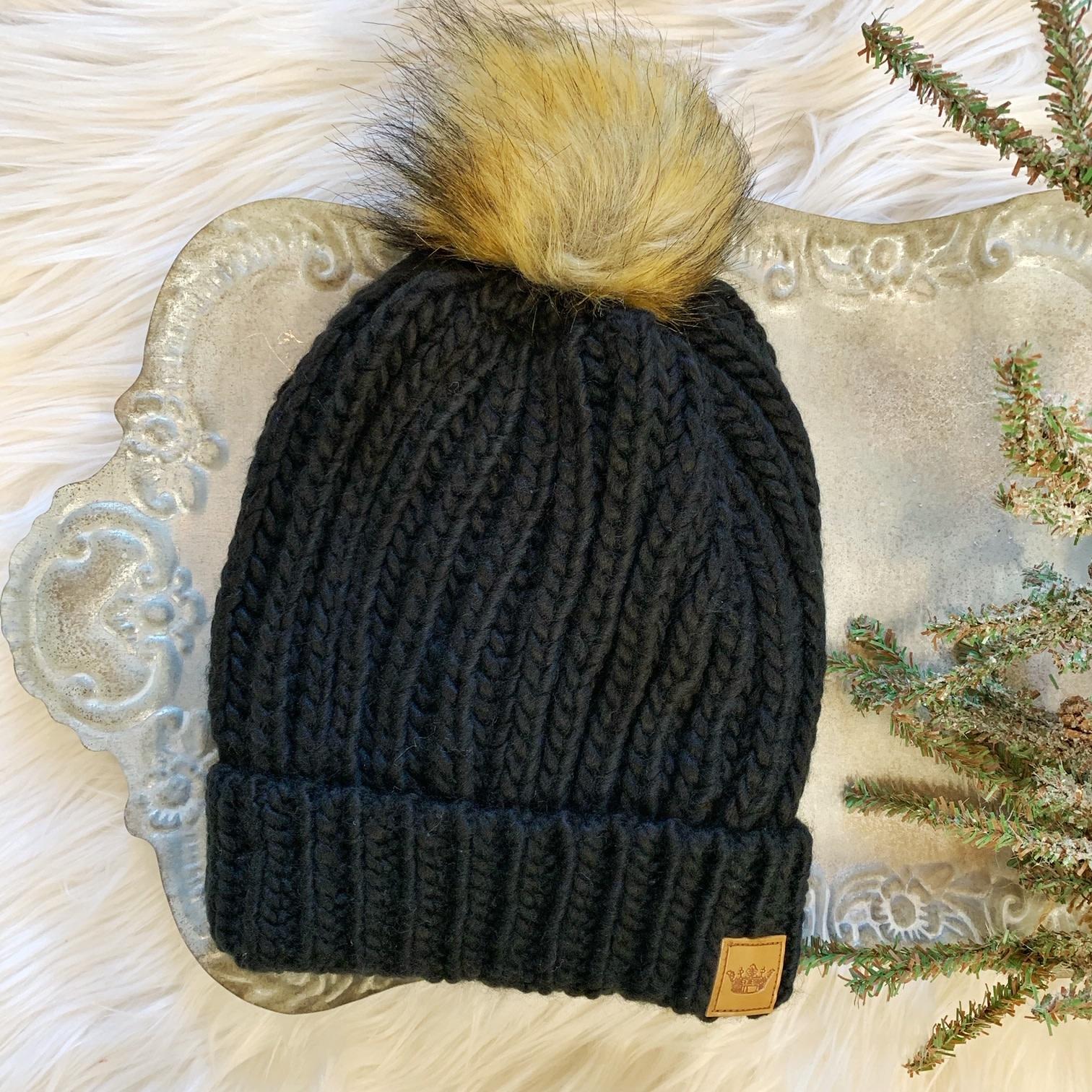 Black Cable Hat
