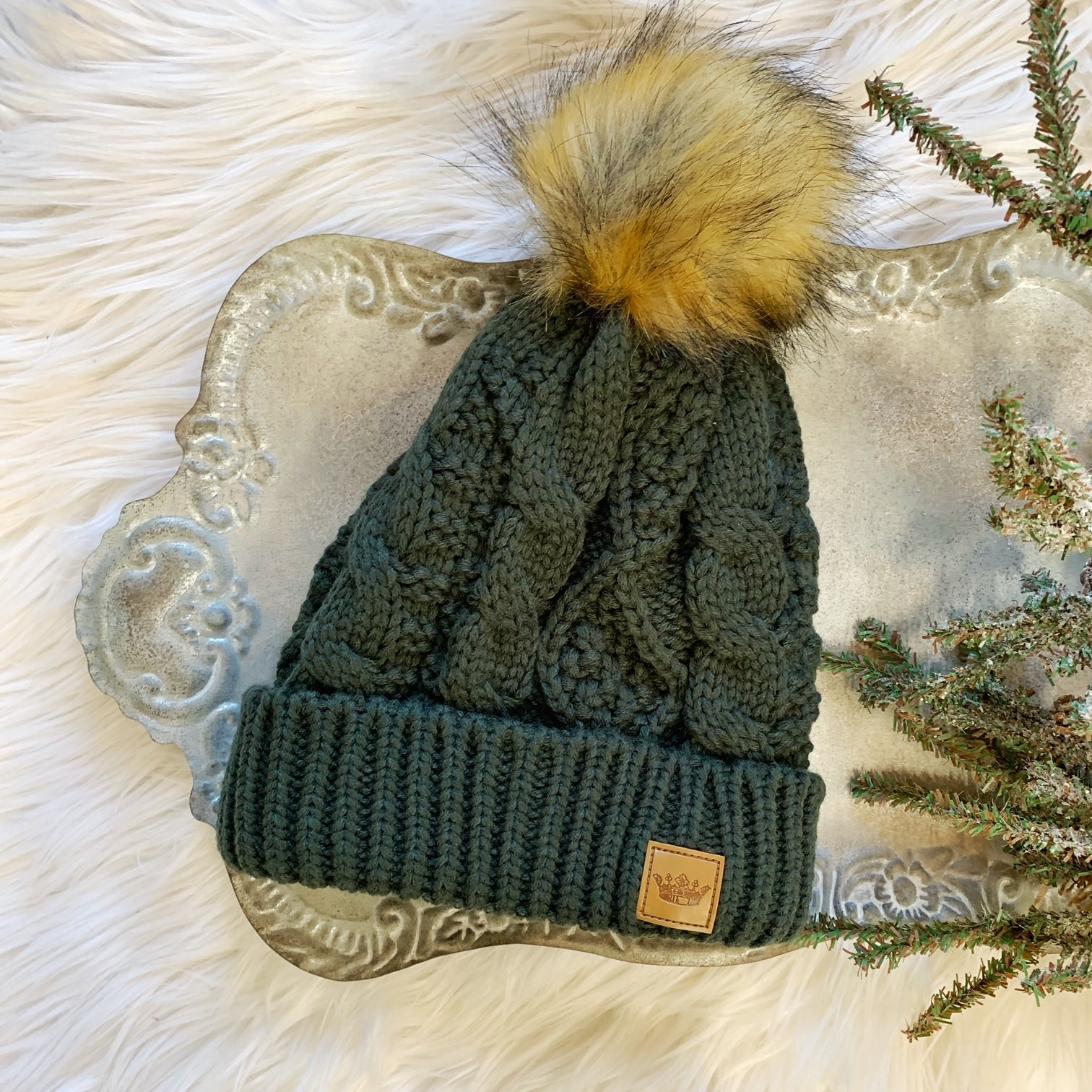 Olive Cable Hat