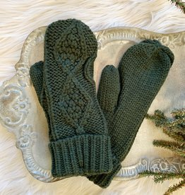 Olive Cable Mittens
