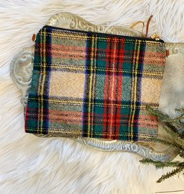 Beige Plaid Clutch