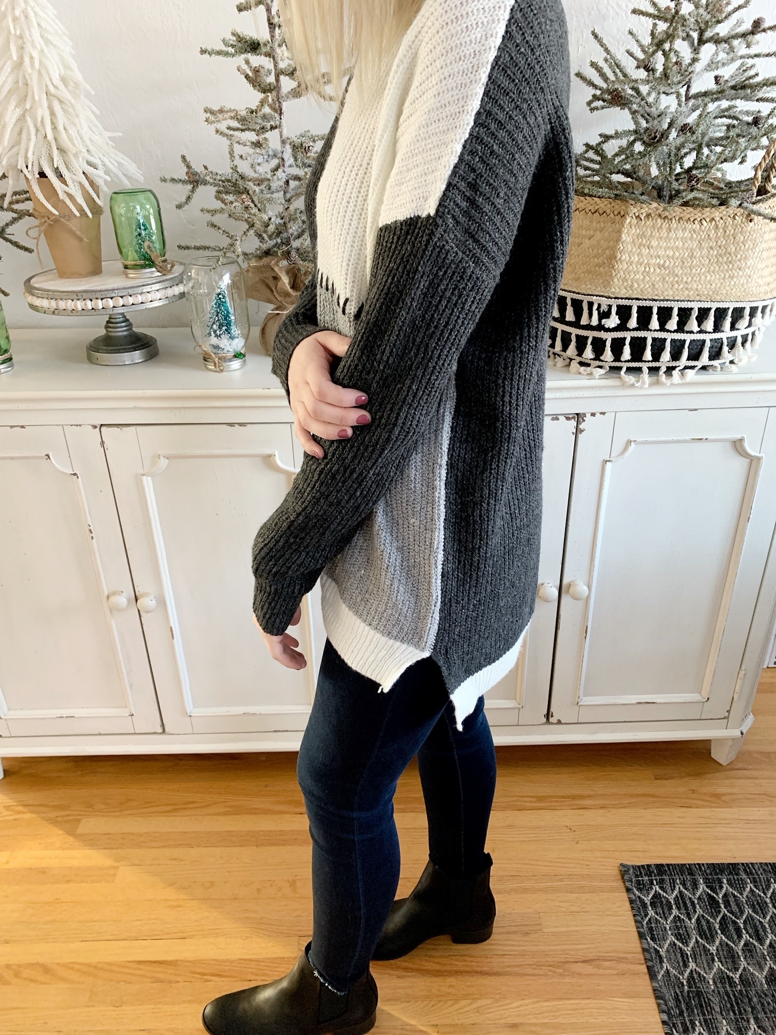 Gray Stitched Sweater
