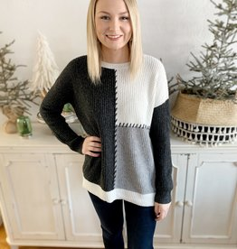 Gray Stitched Sweater