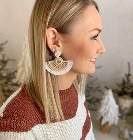 Ivory Beaded Fan Earrings
