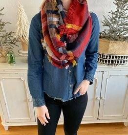 Red/Navy Plaid Infinity Scarf