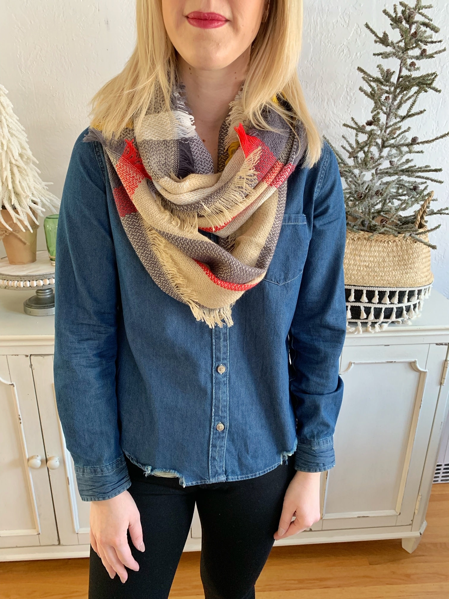 Gray/Beige Plaid Infinity Scarf