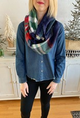 Green/Navy Plaid Infinity Scarf