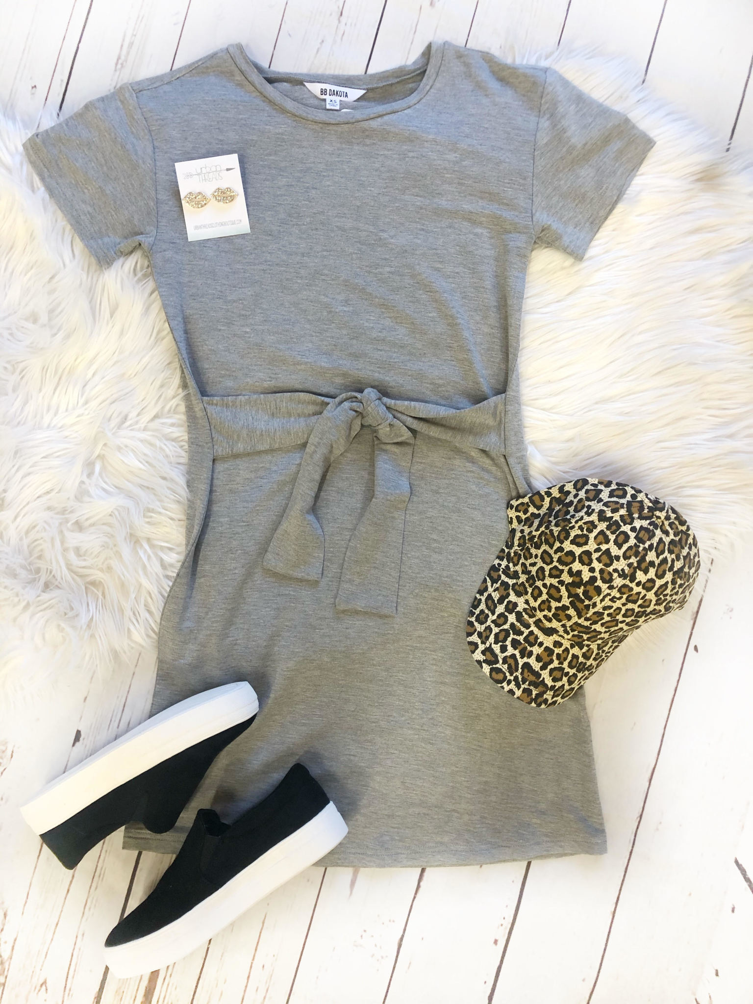 Sunrise Grey Tie Dress