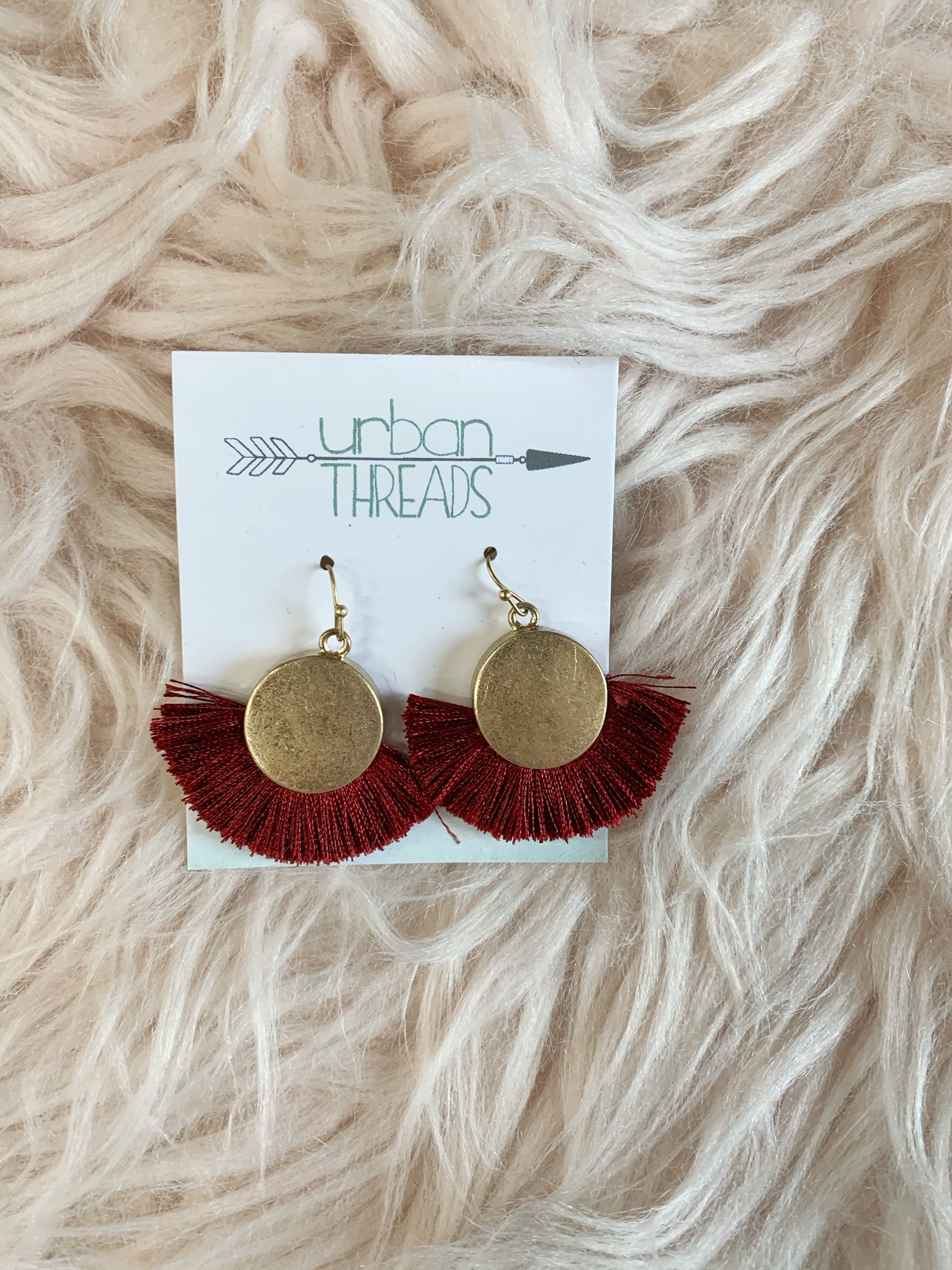 Burgundy Tassel Fan Earrings