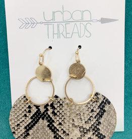 Neutral Snakeskin Dangle Earrings