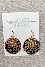Disc Drop Leopard Earrings