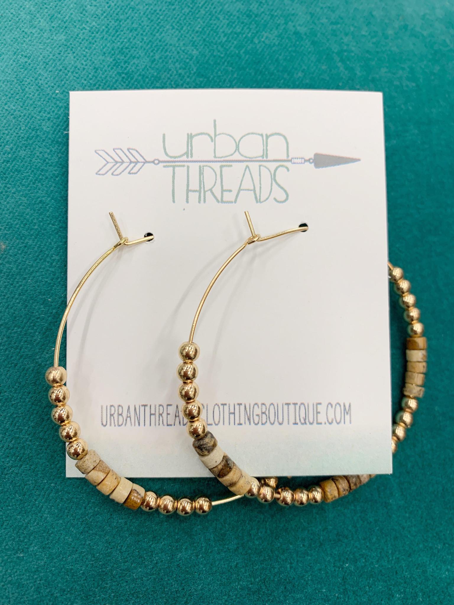 Natural Beaded Hoop Earring