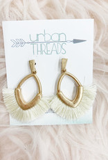 Ivory Metal Fan Earrings