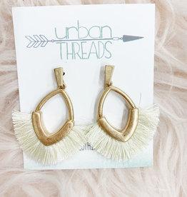 Ivory Metal Fan Earrings