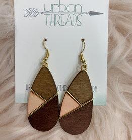 Burgundy Combo Wooden Earrings