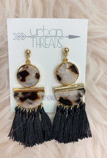 Black Tortoise Tassel Earrings