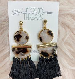 Black Tortoise Tassel Earrings