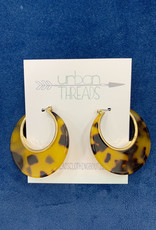 Crescent Brown Hoop Earrings