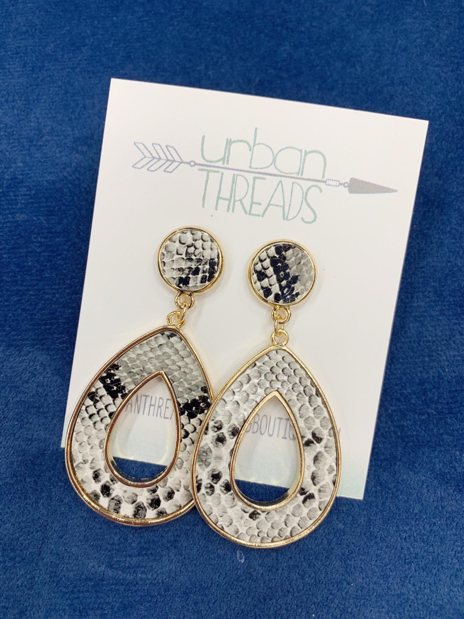 White Linked Snakeskin Earrings