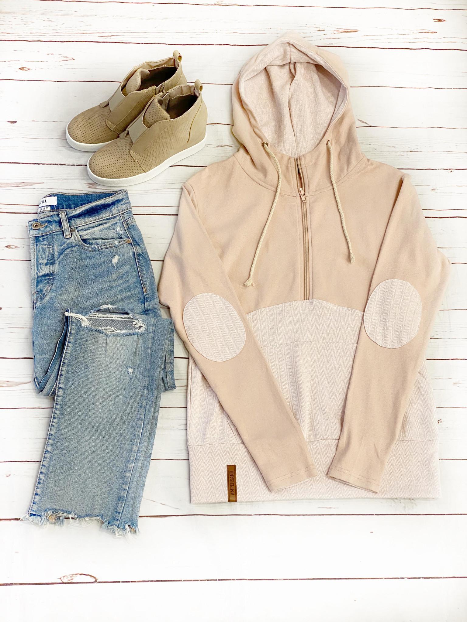 Ampersand Avenue Blush Half-Zip Sweatshirt