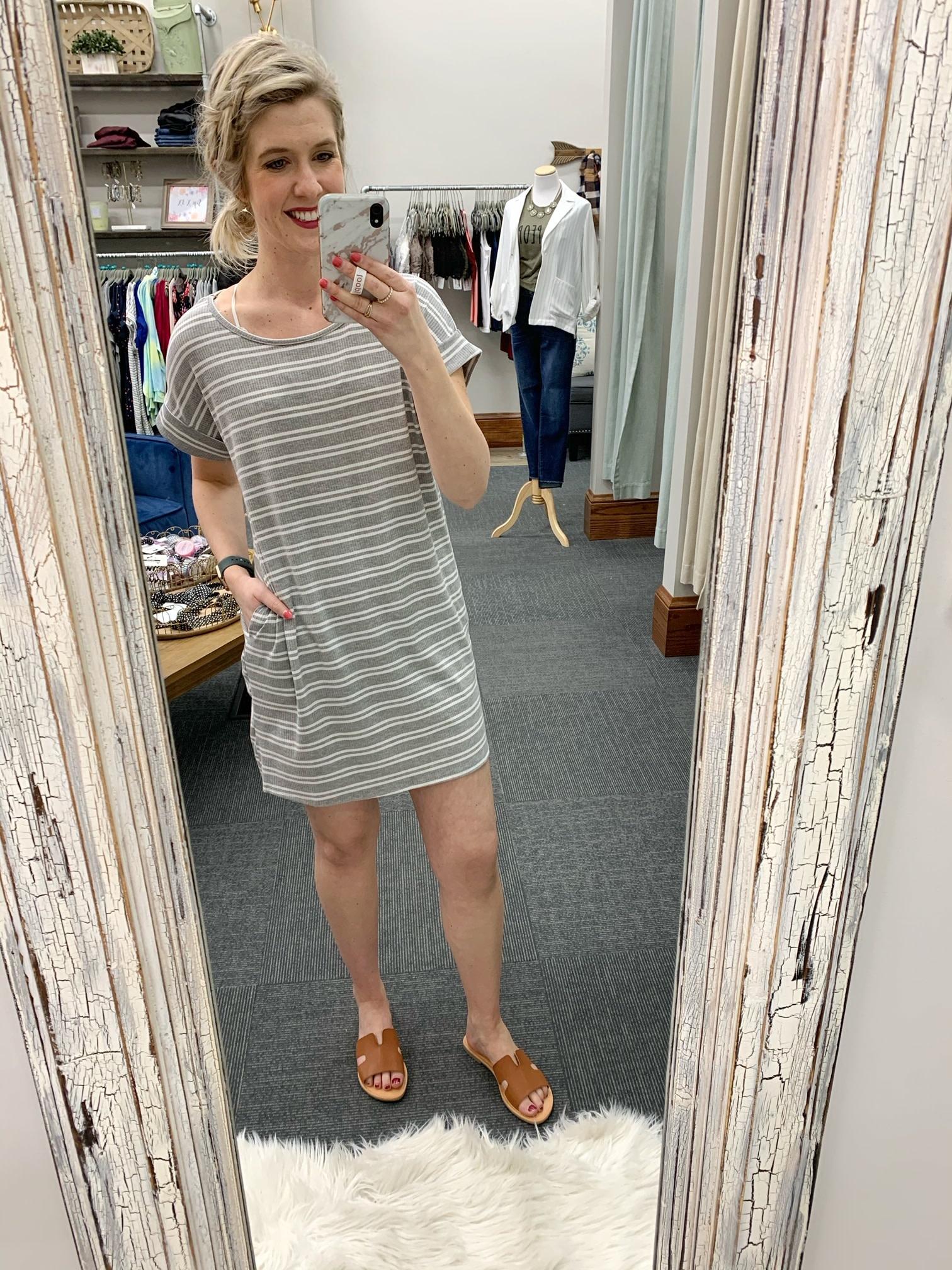 Amanda Striped Dress - Gray