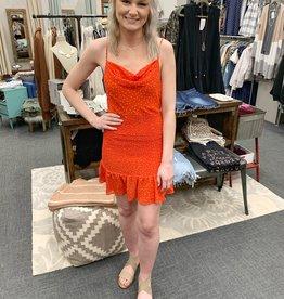 Red Smocked Mini Dress